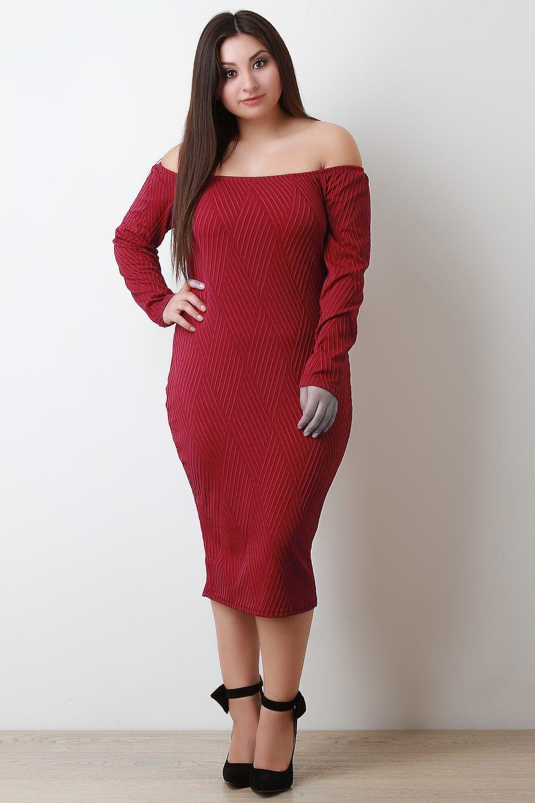 Texture weave bardot bodycon midi dress midi dresses bodycon