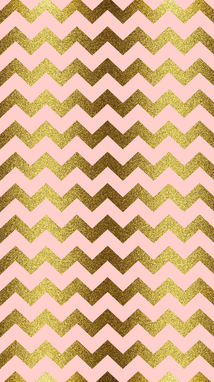 Gold Glitter Blush Pink Chevron