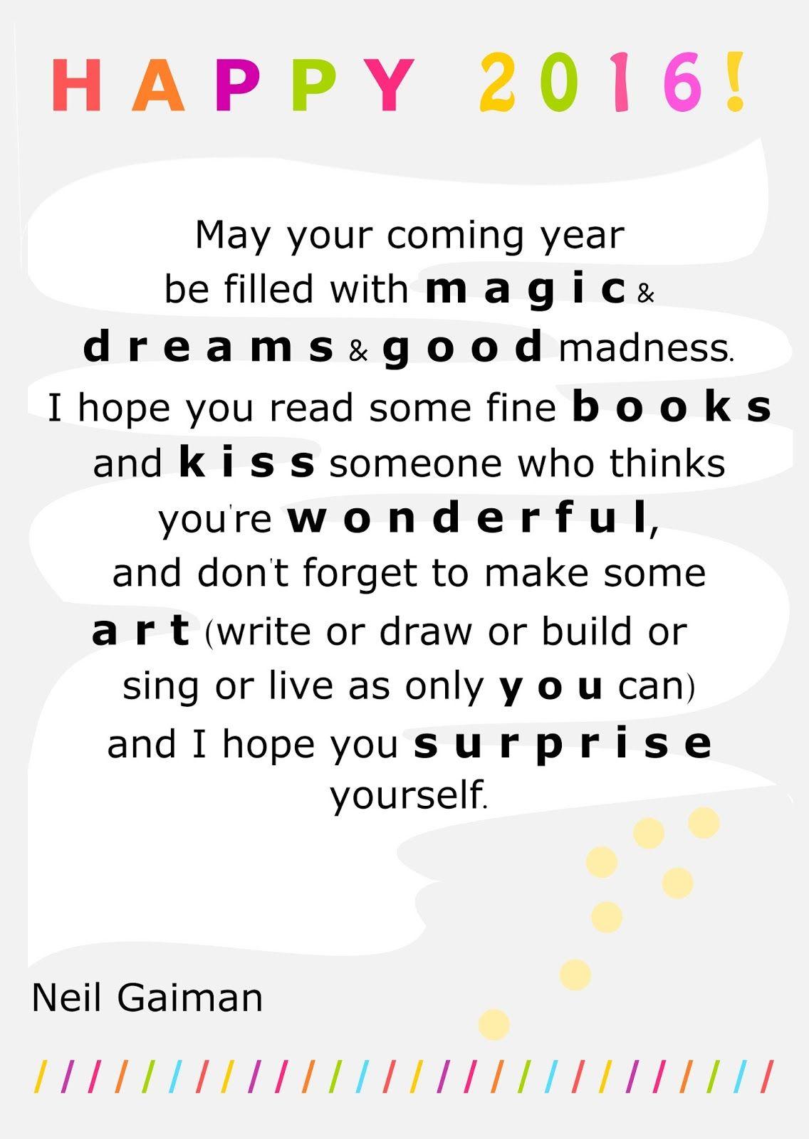 FREE printable inspiring New Year\'s quote   NeilGaiman   motywatory ...
