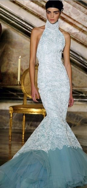 Givenchy mermaid gown accented by the turquoise bottom then have ...