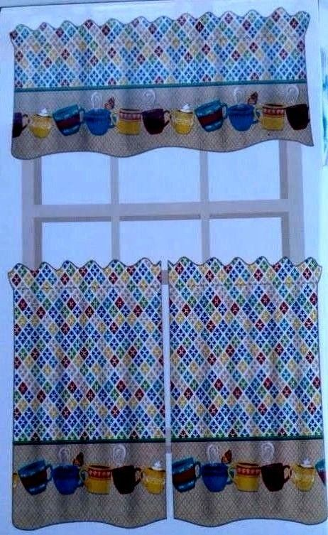 amazing Kitchen Valances Coffee Theme Part - 11: 3 Pc Cafe Latte Tiers u0026 Valance Window Curtains MultiColor Polyester True  Living #TrueLiving #Cottage
