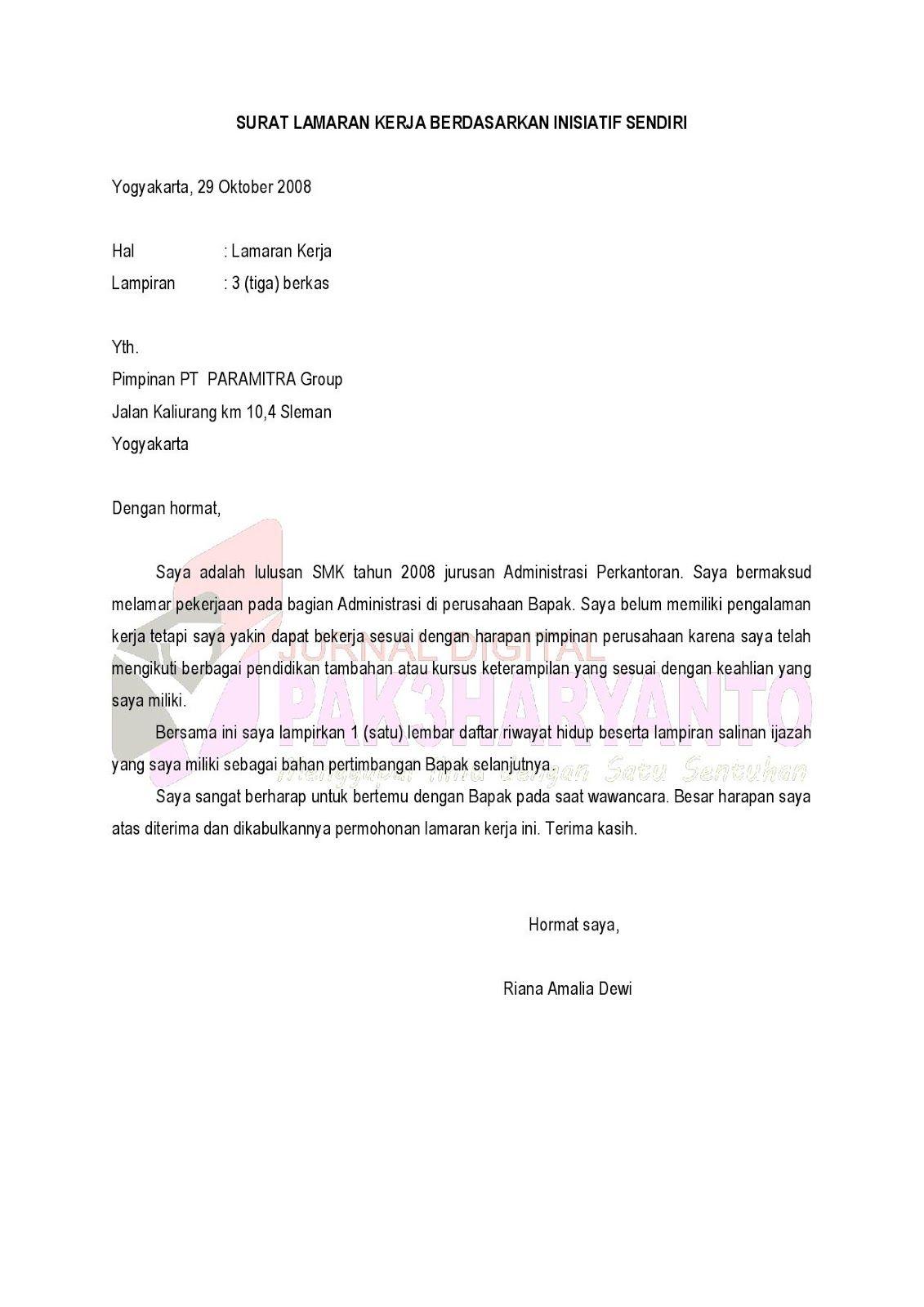 Surat Lamaran Kerja Atas Inisiatif Sendiri Ben Jobs Contoh