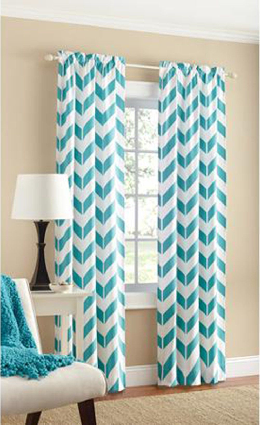 Robot Check Chevron Curtains Panel Curtains Cotton Curtains
