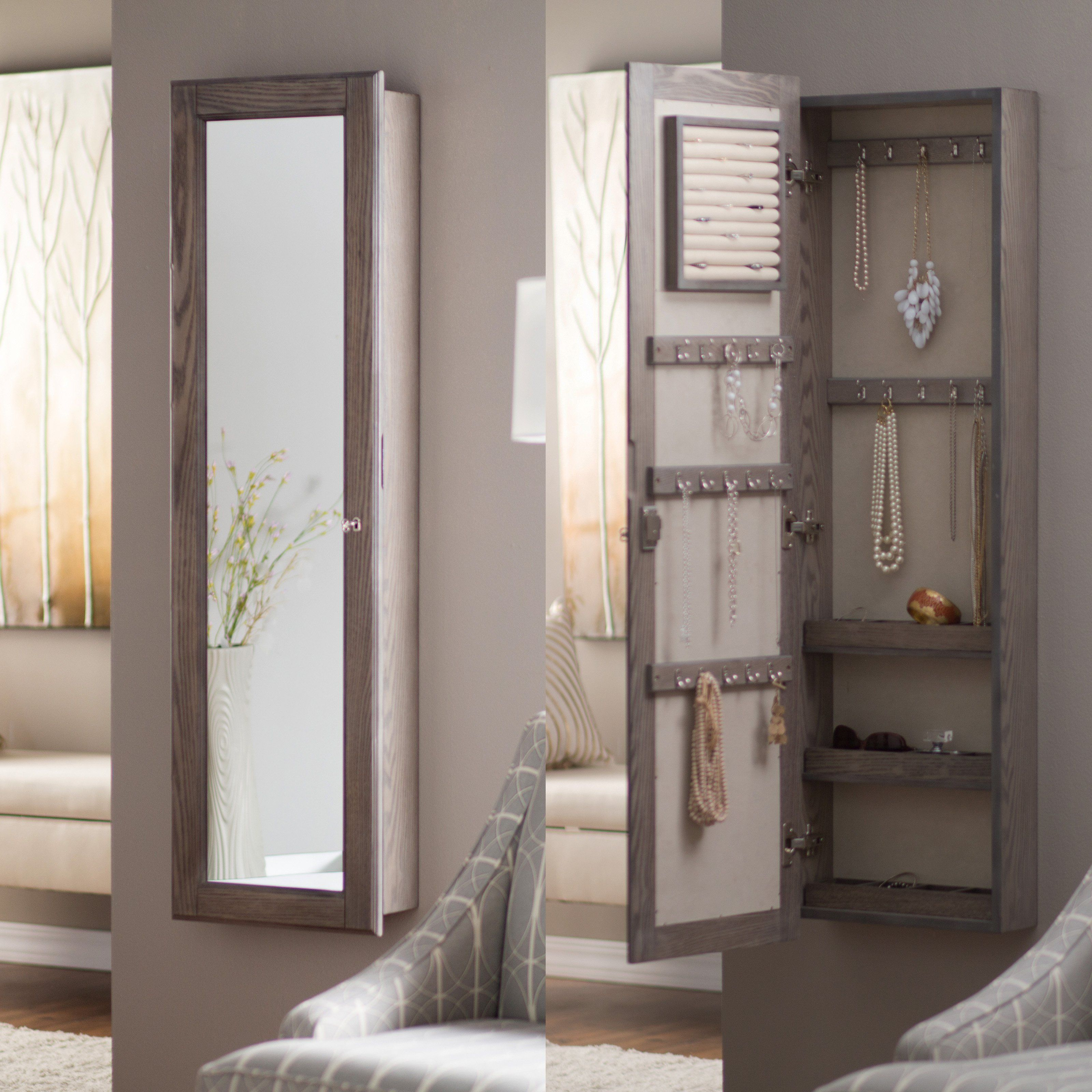 Wall Mounted Locking Mirrored Jewelry Armoire Driftwood Mirror