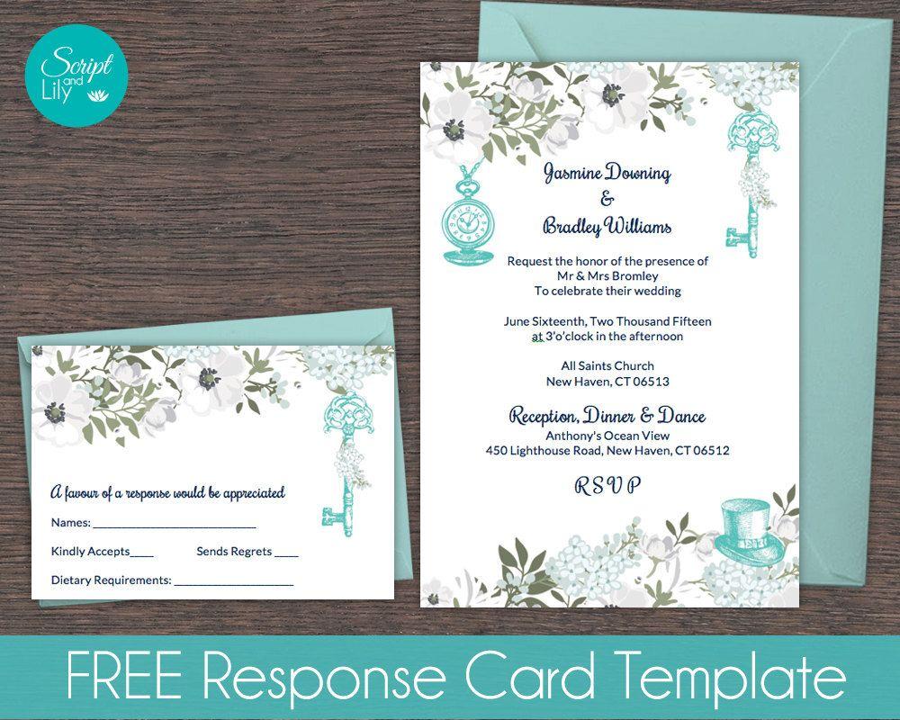 Teal & White Alice in Wonderland Invitation Template | FREE ...