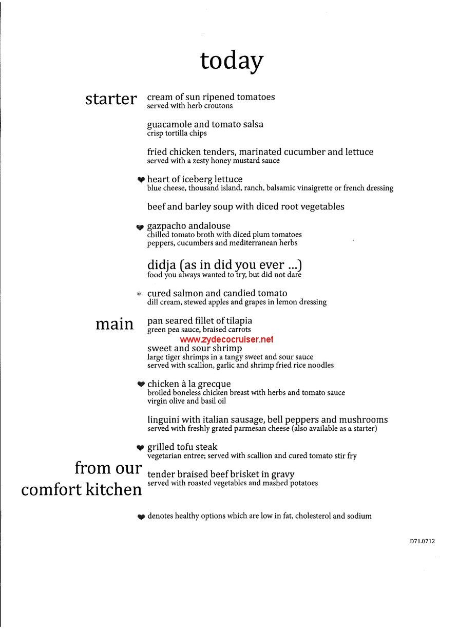 carnival dream main dining room menus until the american table and