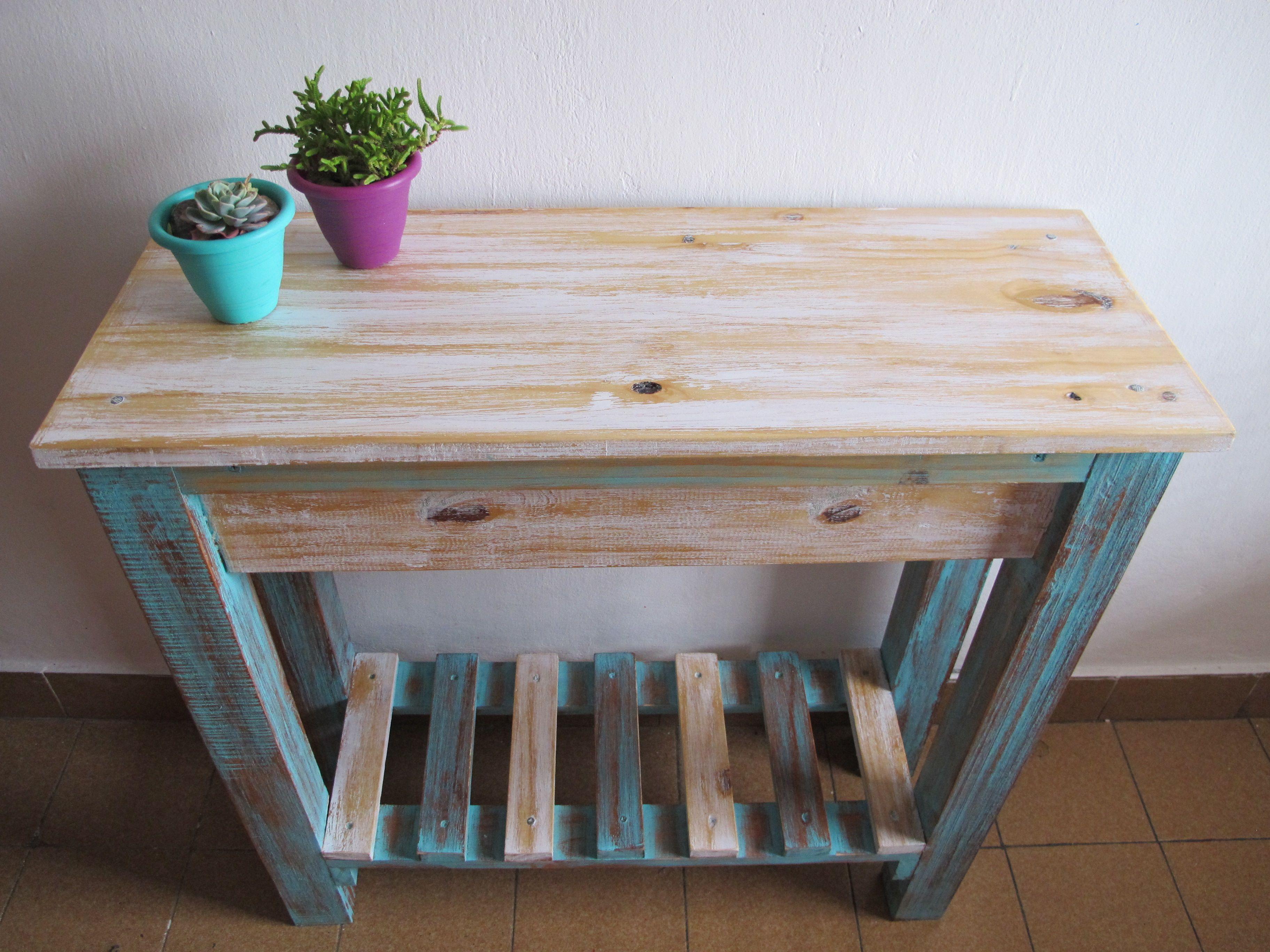 Desayunador Mesa Decapado Madera Pino Deco Hechoapedido  # Muebles Requero