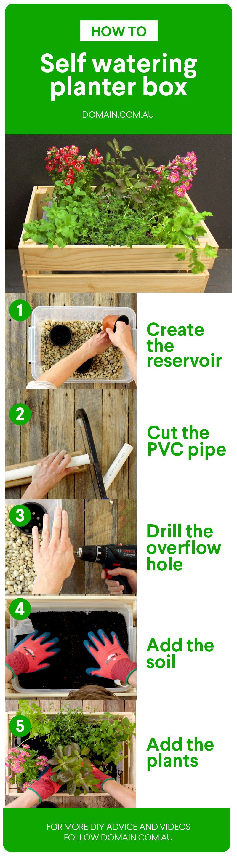 How to make a selfwatering herb planter box Herb
