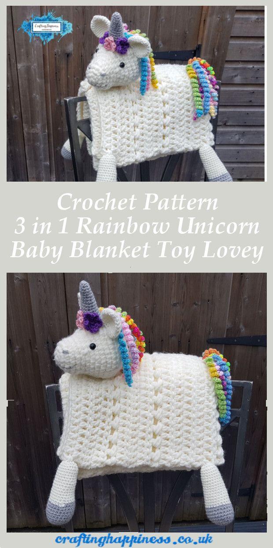 3in1 Rainbow Unicorn Folding Baby Blanket Crochet Pattern #babyblanket
