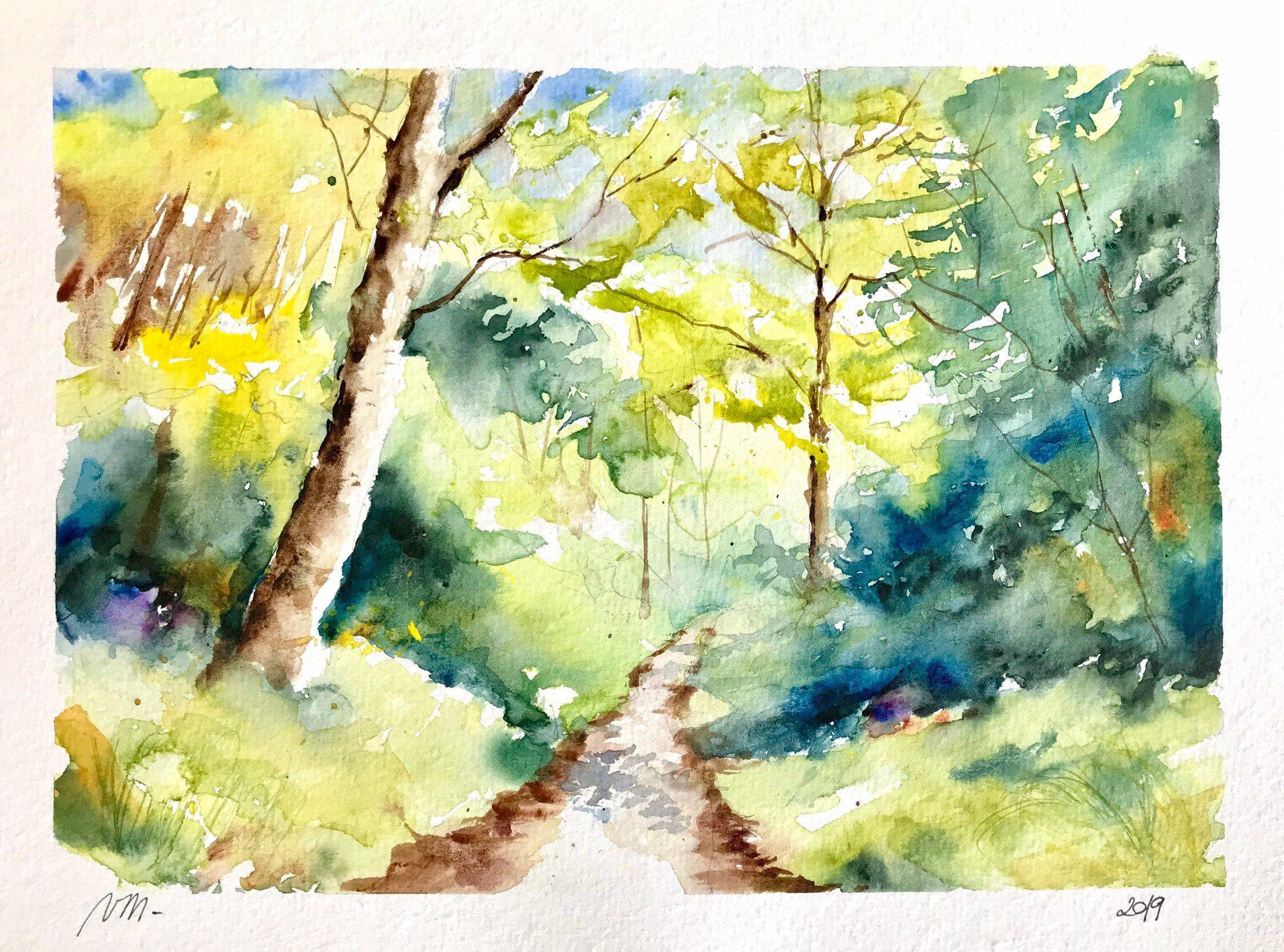 Aquarelle Peinture Originale Chemin En Foret Paysage Au