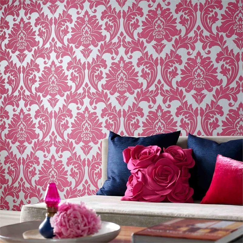Wallpaper Majestic Damask G&B 52cm 10m Pink/silver 30-418 ...