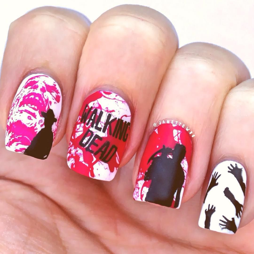 The walking dead nails, halloween nails, zombies, blood, | A ...