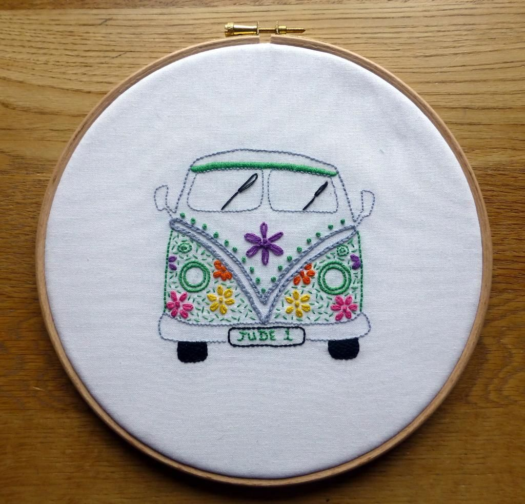 Hand embroidery campervan owl heart