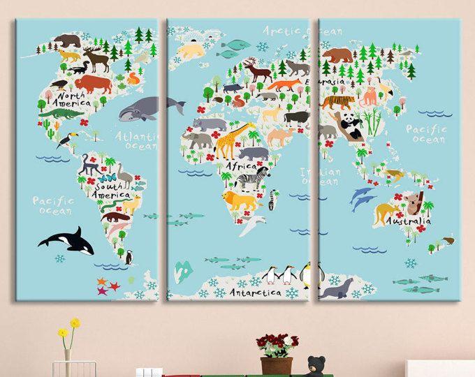 Animal world map canvas print 5 model wall art for baby room world animal world map canvas print 5 model wall art for baby room world map canvas gumiabroncs Gallery
