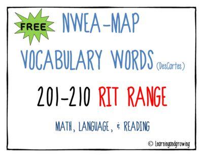 FREE-NWEA MAP Vocabulary (Math, Reading Language) RIT 201-210 from