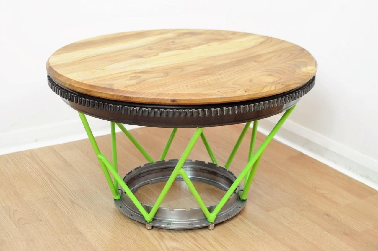 Blade Hub Coffee Table With Green Legs Aircraft Jet Engine Ring