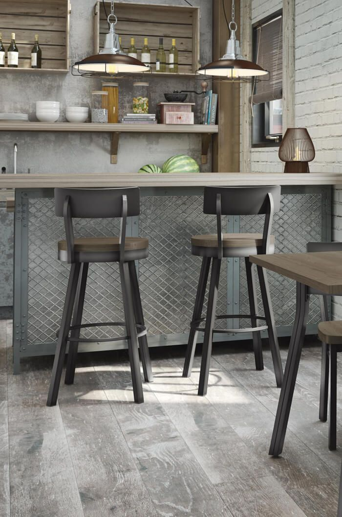 Amisco S Lauren Swivel Counter Stool W Distressed Wood Seat Rustic Bar Stools Kitchen Stools Home Bar Furniture