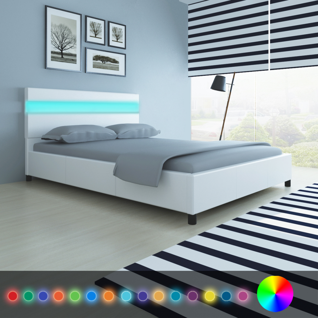 white Bed with Headboard in LED 200 x 140 cm in White Faux