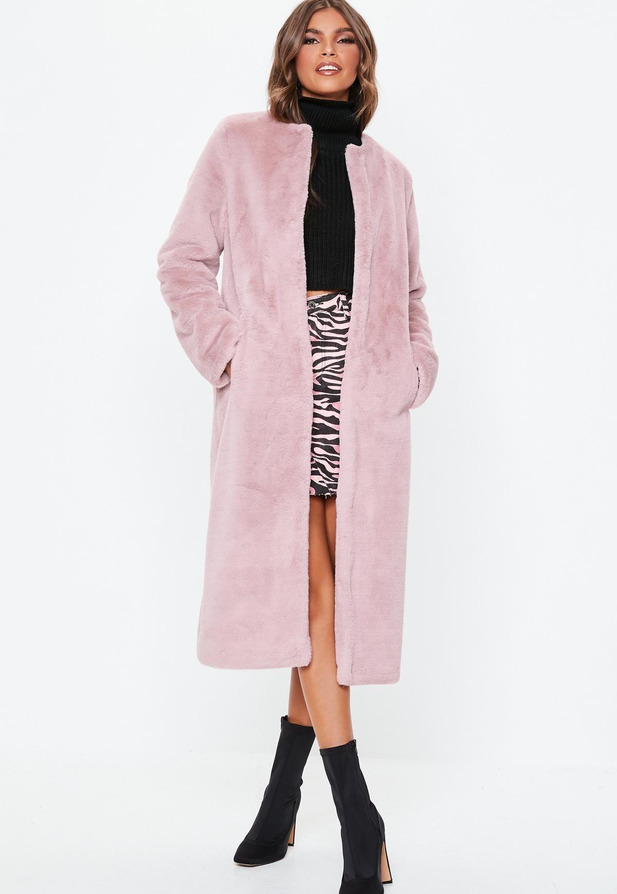 785e86722e9f Pink Collarless Longline Faux Fur Coat | Missguided | Fall/Winter ...