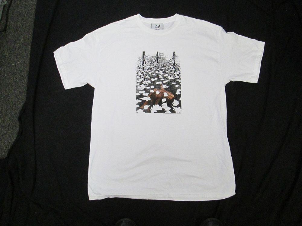 """M.C. Escher Adult T-shirt """"3 Worlds""""  Never Worn!"""