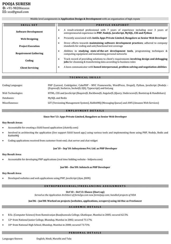 Resume Example 1 Year Experience Resume Examples Pinterest