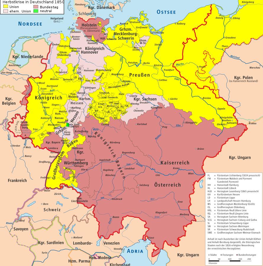 deutschland karte 1850 Datei:Deutsche Herbstkrise 1850 Karte.svg | Geschichte karten