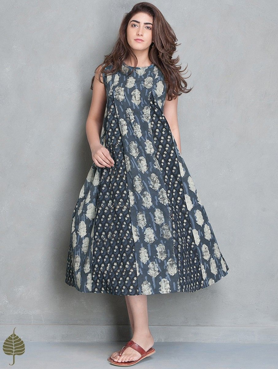 Buy indigooff white block printed cotton kali dress by jaypore