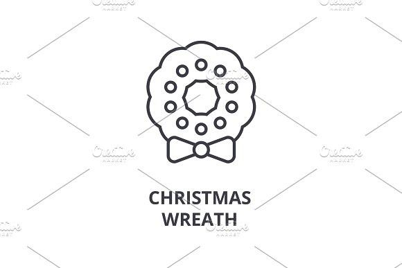 Christmas Wreath Line Icon Outline Sign Linear Symbol Vector Flat Illustration Decor