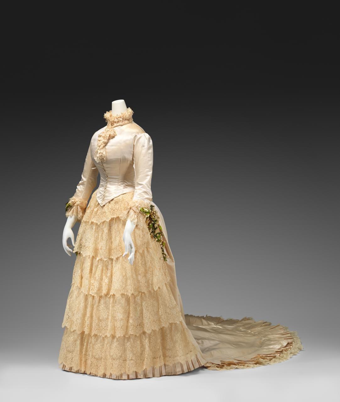 Wedding dress silk satin cotton wax flowers Australian