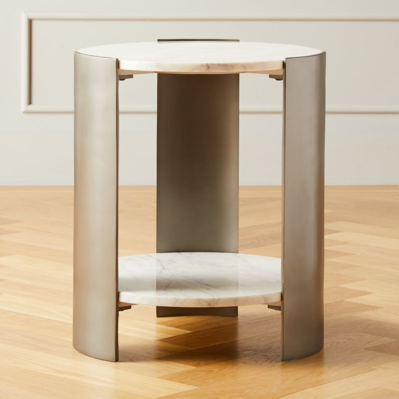 Beret Marble 2 Tier Side Table Reviews Cb2 In 2020 Modern Side Table Side Table White Marble Side Table