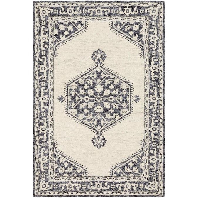 Surya Granada 10 X 14 Black Indoor Medallion Bohemian Eclectic Handcrafted Area Rug In The Rugs Department In 2020 Eclectic Area Rug Wool Area Rugs Black And Grey Rugs