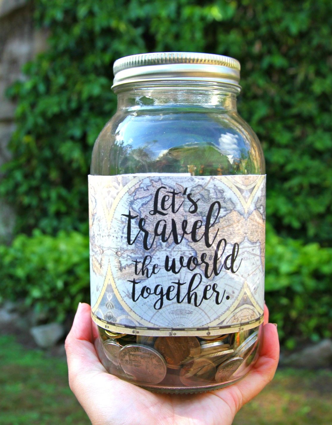 Grab Someone And Just Go Create Your Own Diy Jar With This Let S Travel The World Together Digital Label Etsy A Diy Gifts In A Jar Jar Diy Couple Gifts