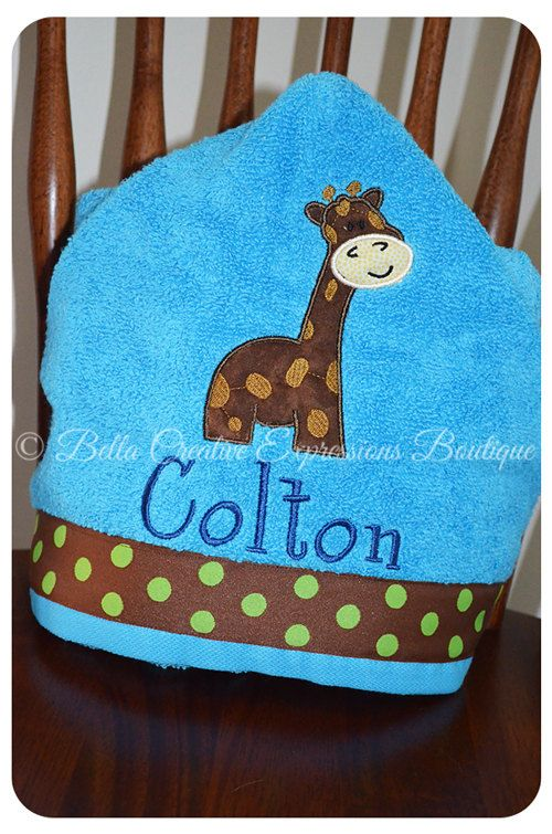 Giraffe Hooded Towel other colors available for por BellaCEBoutique