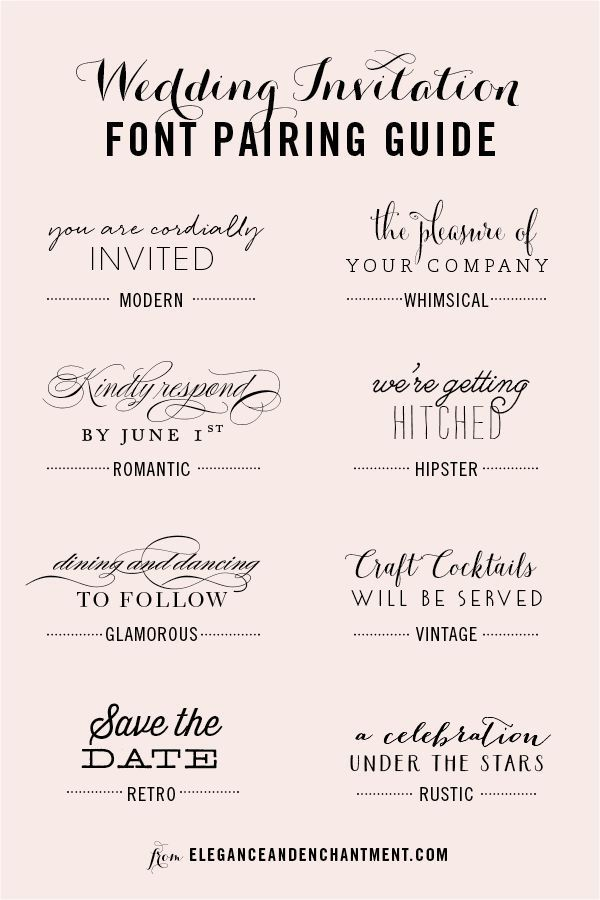 Wedding Invitation Font Pairing Guide The Group Board On Pinterest