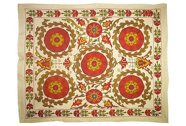 "Uzbek Brick Red Floral Suzani  -  Uzbekistan  -  50""L x 40""W  -  OneKingsLane.com  -  ($995.00)  $579.00"