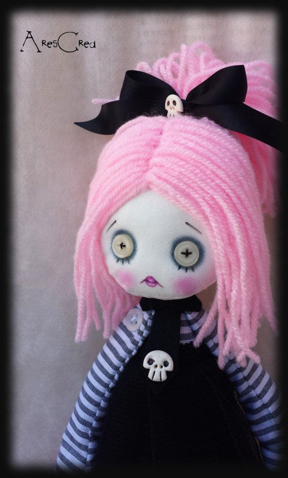 Pastel goth, creepy cute doll Lola handmade zombie goth cloth doll with white button eyes and skulls. Goth rag doll. Goth cloth doll