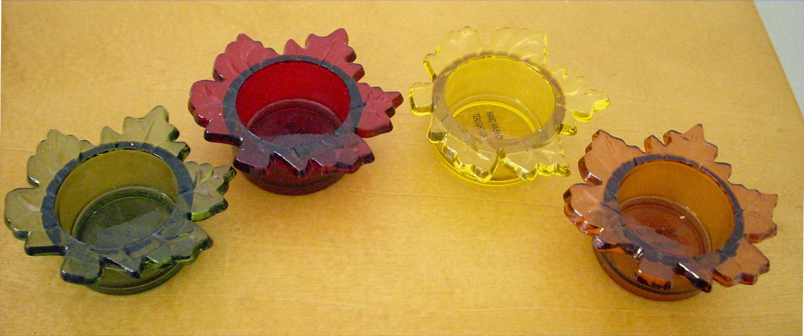 4 multi-colored leaf votive candleholder