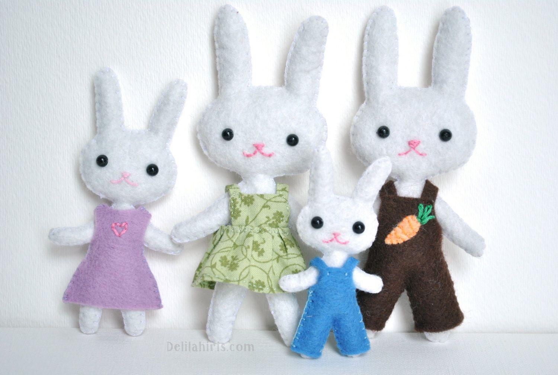 Mini Felt Bunny Doll Family Ready To