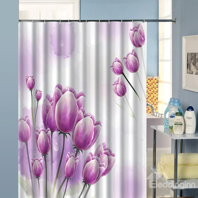 Pretty Unique Purple Flower Image 3d Shower Curtain Cool