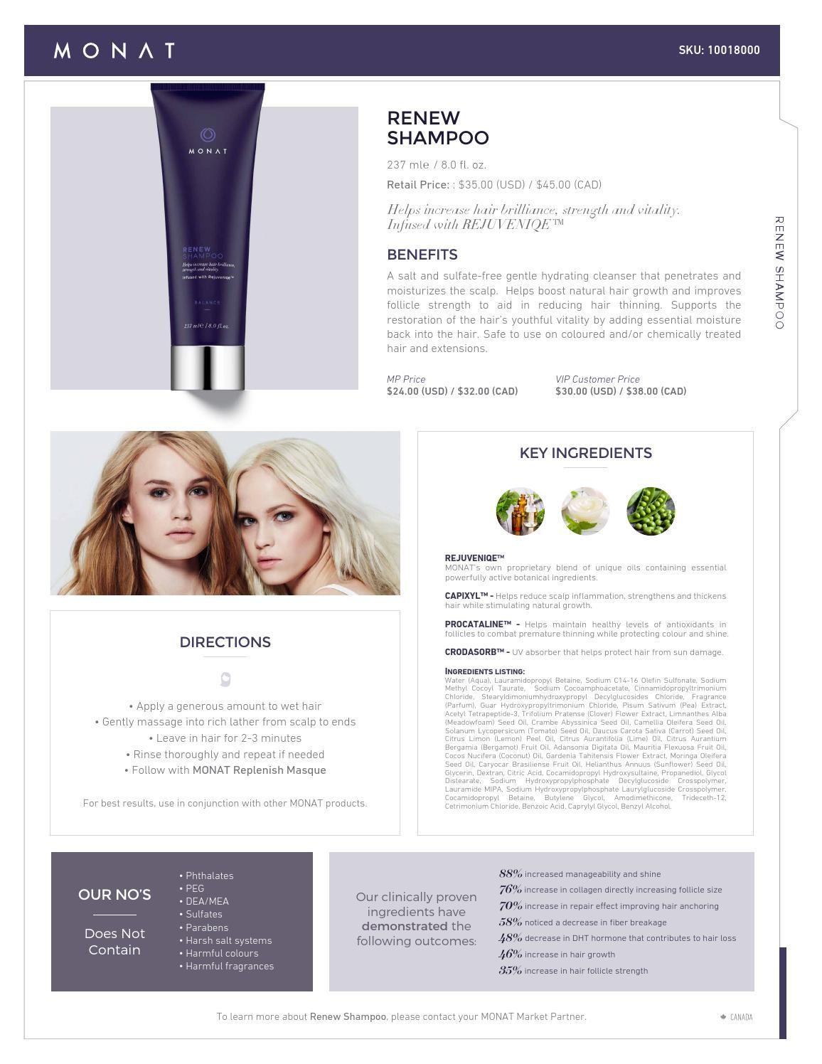 MONAT Renew Shampoo Infosheet Monat renew shampoo, Monat