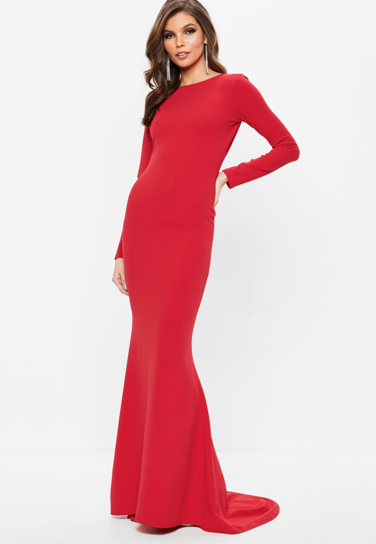 b38081d6d2b Red Long Sleeve Open Back Fishtail Maxi Dress