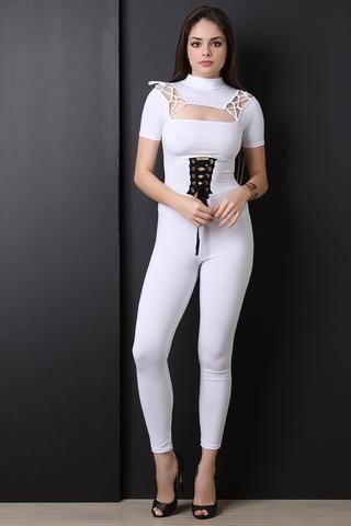 grommets corset laceup jumpsuit  long sleeve jersey