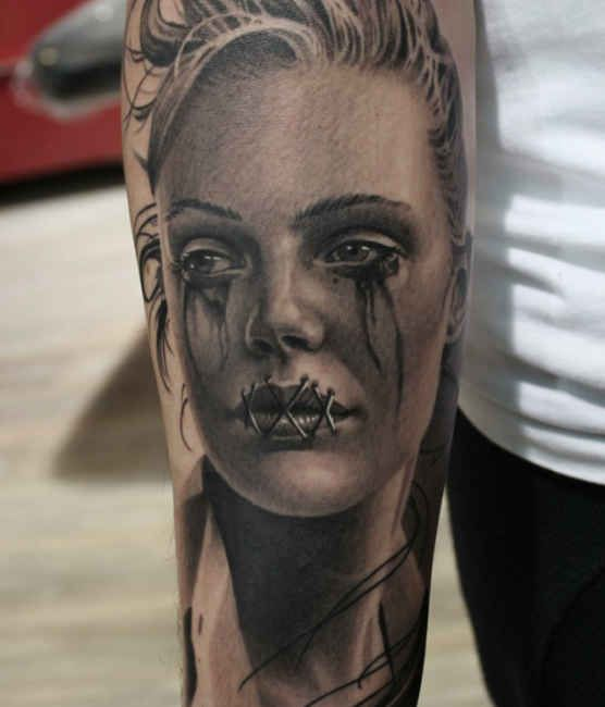 Tattoo crying woman upper arm  - http://tattootodesign.com/tattoo-crying-woman-upper-arm/  |  #Tattoo, #Tattooed, #Tattoos