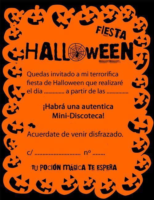 invitaciones para fiesta de halloween Ideas Cumple Pauli (Pauli's birthday ideas) Pinterest