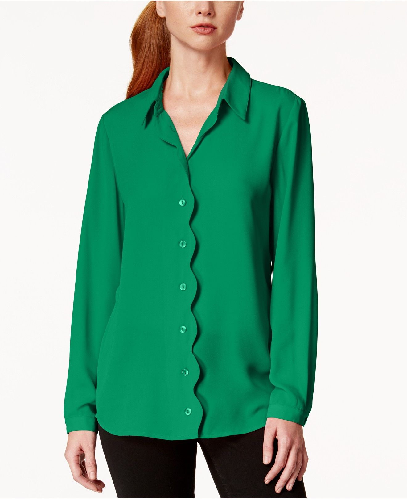 Ny Collection Scallop Trim Button Down Blouse Tops Women