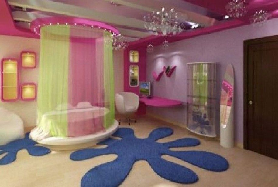 Kids Bedroom, Cheerful Tween Bedroom Decor Ideas: Cheerful Girls Round  Canopy Bed With Green Pink Silk Curtain And Minimalist White Sofa