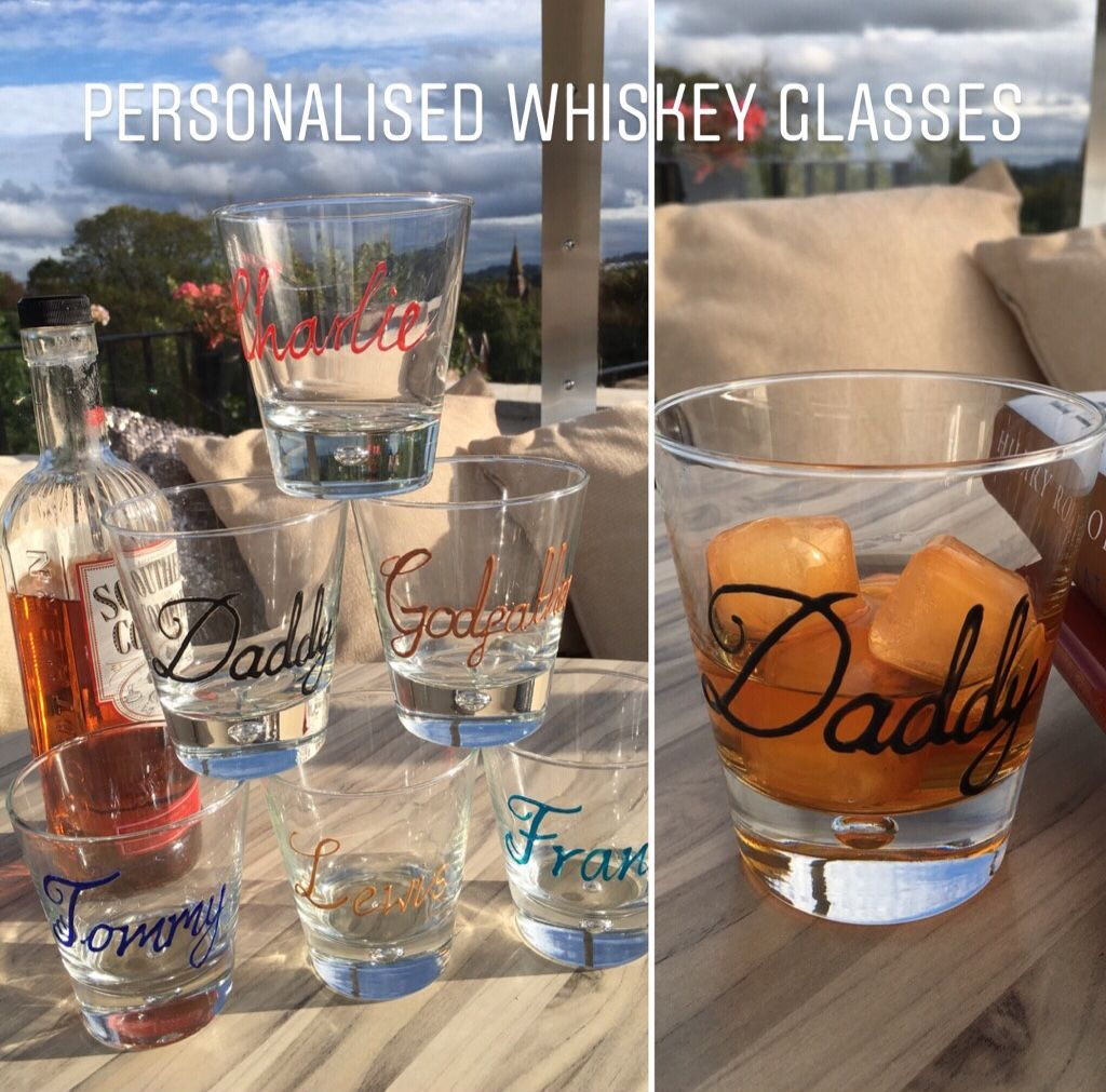 Hand painted personalised whiskey glasses Personalized
