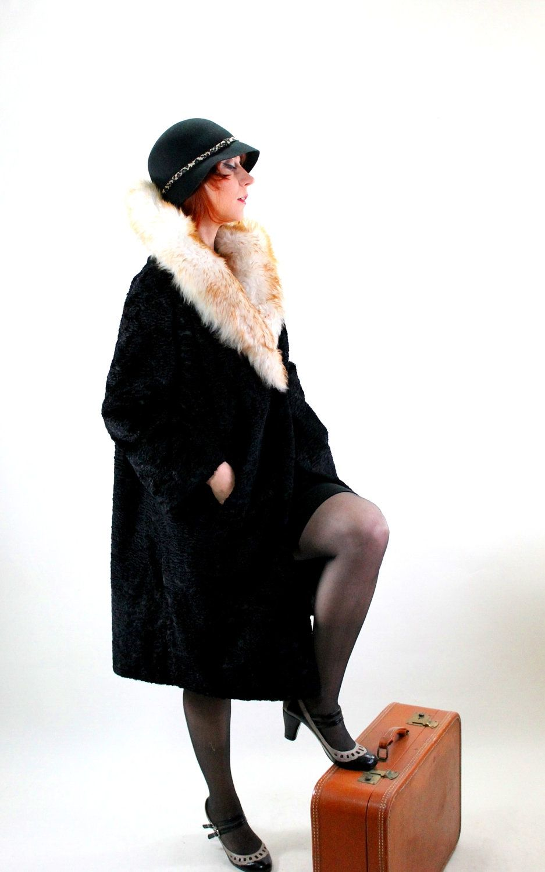 Holiday Sale 1950s Black Cream Faux Fur Coat 20s Style Etsy Cream Faux Fur Coat Coat Vintage Outfits [ 1500 x 937 Pixel ]