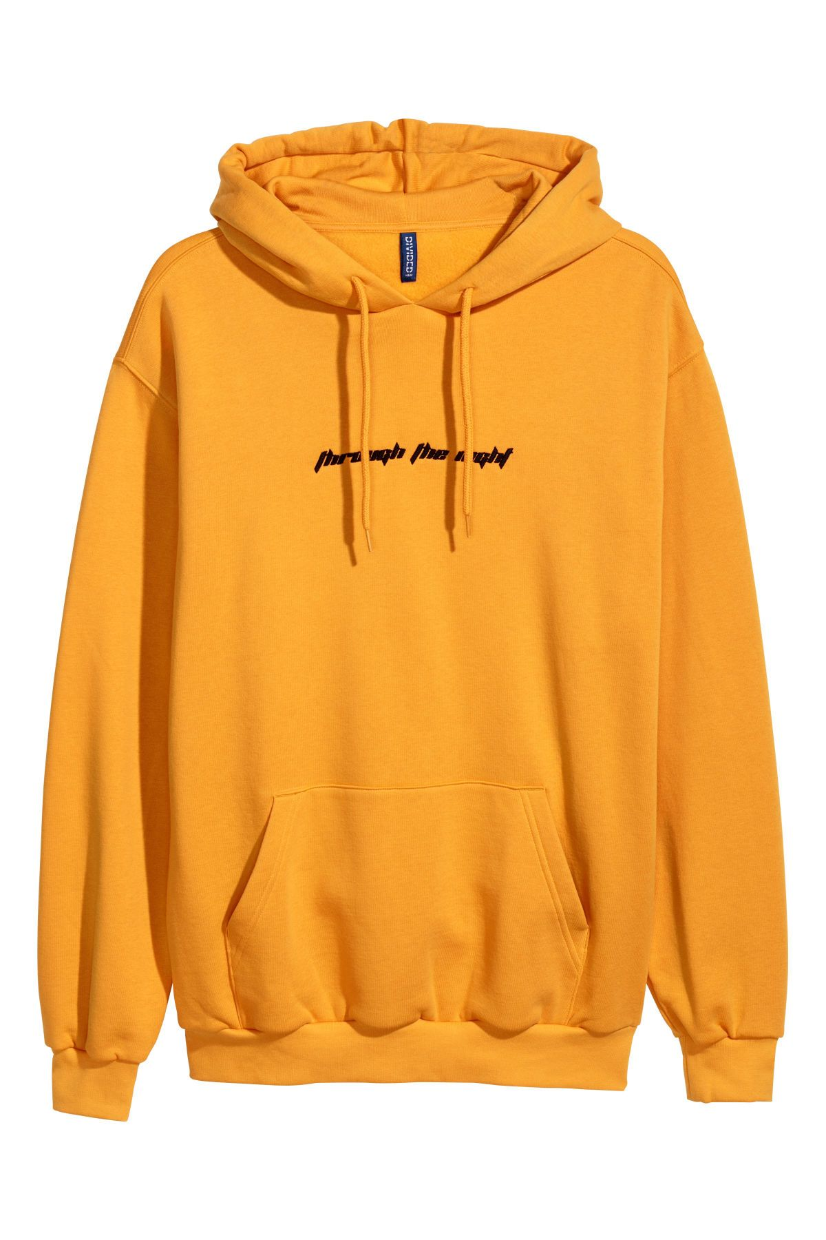 Hooded Sweatshirt With Motif Bright Yellow Men Hm Us Hooded