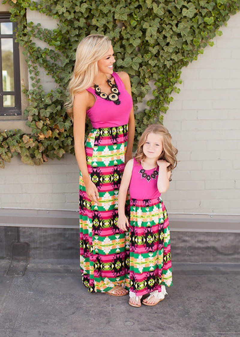 06f623665f Mommy & Me Matching Long Summer Dress – ourlittlerascal | Mommy & Me ...